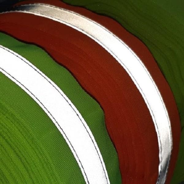 Faixa refletiva cores amarelo esverdeado e laranja avermelhado