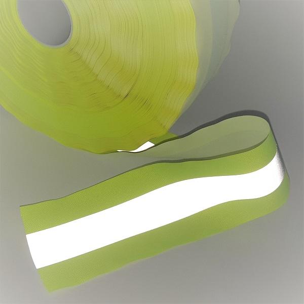 Rolo de faixa refletiva para roupa na cor amarela e cinza